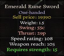 Maltise Emerald Rune Sword