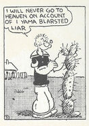 Popeye filled with shame on account of he's a blasted liar