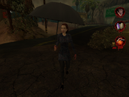Woman in raincoat with umbrella 004