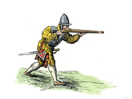 Spanish-soldier-aiming-an-arquebus-in-the-new-world-16th-century