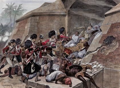 Highlanders charge indian fort