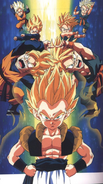 SSJ Goten and Trunks fusion pose or dance = Gotenks