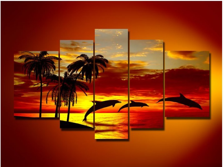 Hand Painted Oil Wall Art Sunrise Beach Dolphins Home Decoration  Abstract Landscape Oil Painting On Canvas