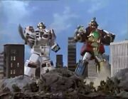 Thunder Megazord and Tigerzord in America Footage