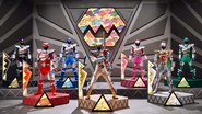 Main 6 Rangers with Silver in Dino Charge Ultrazord Cockpit