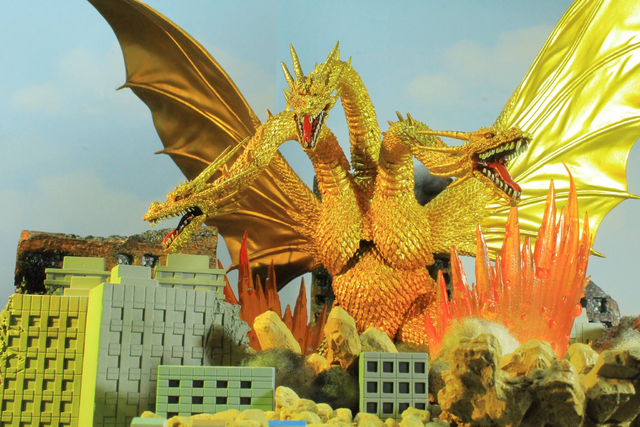 File:King Ghidorah's design in the trilogy..png