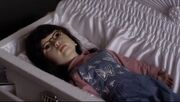 Mona doll in casket