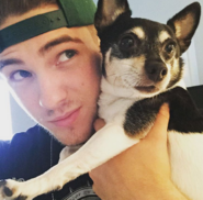 Cody Christian and a dog