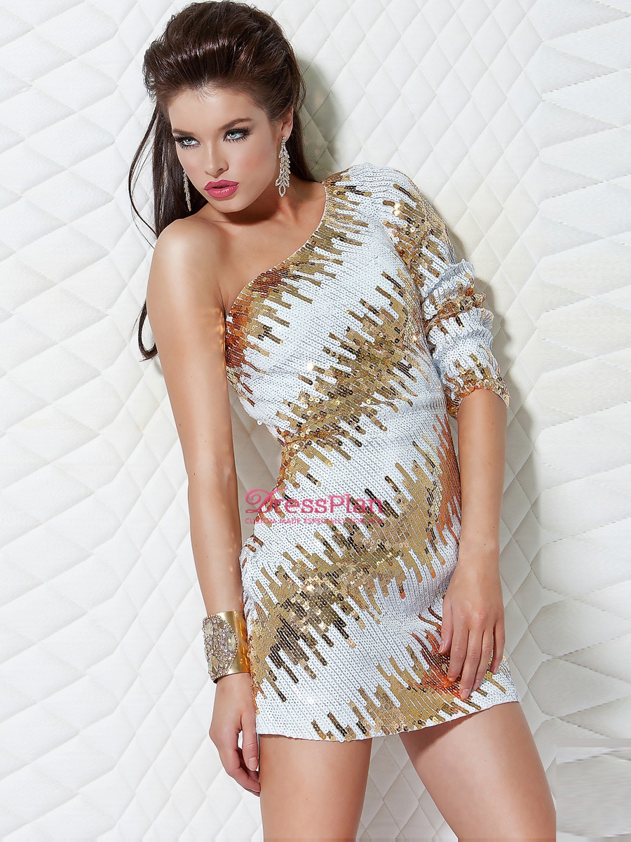The dress white gold - White And Gold Cocktail Dress Breezy A Line White Gold One Shoulder Three Quarter Sleeve Short Jpg
