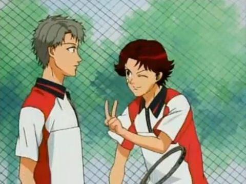 File:Kikumaru and Chotaro pair during their match agaisnt Oishi and Shishido pair.jpg