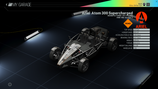 File:Project Cars Garage - Ariel Atom 300 Supercharged.png