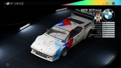 Project Cars Garage - BMW M1 Procar