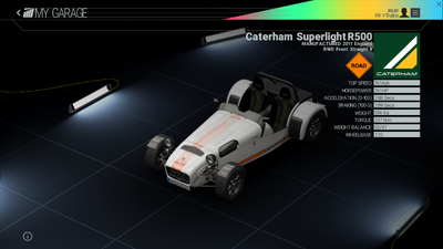 Project Cars Garage - Caterham Superlight R500