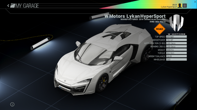 Project Cars Garage - W Motors Lykan HyperSport