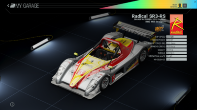 Project Cars Garage - Radical SR3-RS