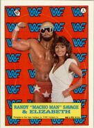 1987 WWF Wrestling Cards (Topps) Sticker Randy Savage & Elizabeth 4