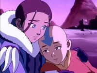 Katara holds Aang