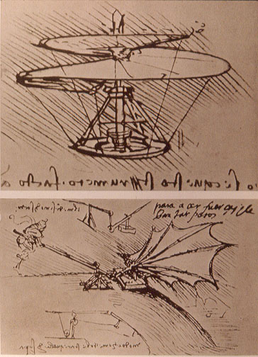 Leonardo da Vinci helicopter and lifting wing