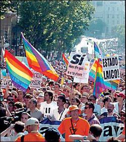 Gay March celebrating 2005 Pride Day and Same-Sex Marriage Law in Spain