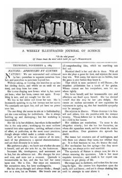 Nature cover, November 4, 1869