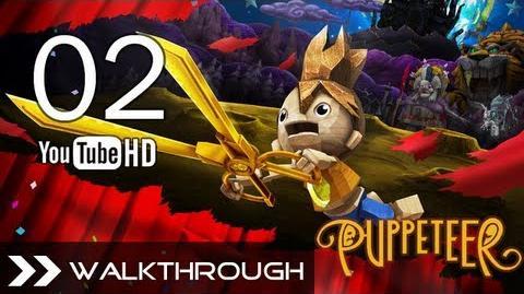 Puppeteer Walkthrough - Gameplay Part 2 (Stolen Away - Act 1 Curtain 2 - Weaver Boss Battle) HD 1080p PS3 No Commentary