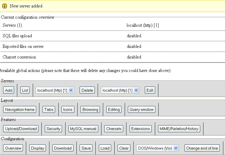Phpmyadmin server added