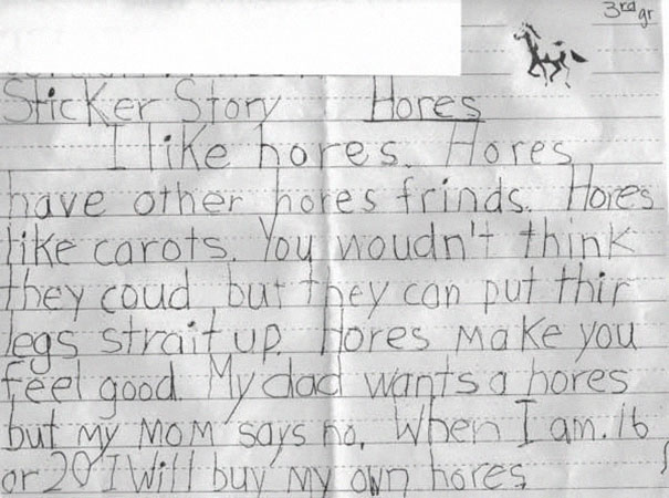 """File:Some third-grader's writing assigment about """"Hores"""".jpg"""
