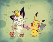 Meowth and pikachu by Gashi gashi
