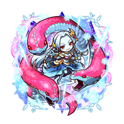 Mi along with her Ice Blood Hydra in the mobile game