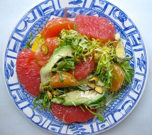Mixed citrus avocado salad plate