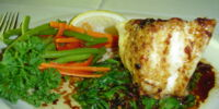 Chilean Sea Bass with Garlic, Basil and Vegetables
