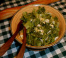 Warm Chicory Salad with Sweet Garlic, Croutons, Bacon and Roquefort