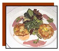 Avocado Dungeness Crab Cake, Fresh Corn Blini, Violet Mustard Creme Fraiche