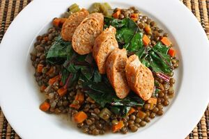 Sausage on Lentils and Greens 500