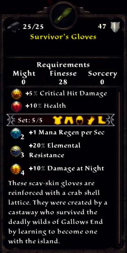 Survivor's Gloves Inventory