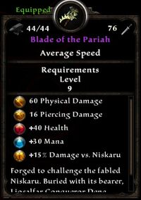 Blade of the Pariah Inventory Card