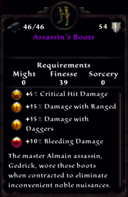 Assassin's Boots Inventory