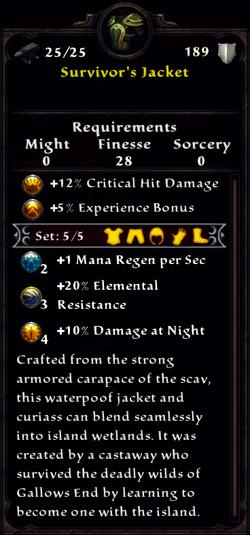 Survivor's Jacket Inventory