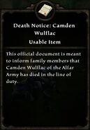Camden Death Notice