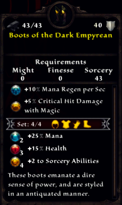 Boots of the Dark Empyrean Inventory
