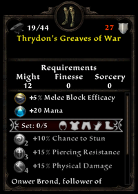 Thrydon's greaves of war