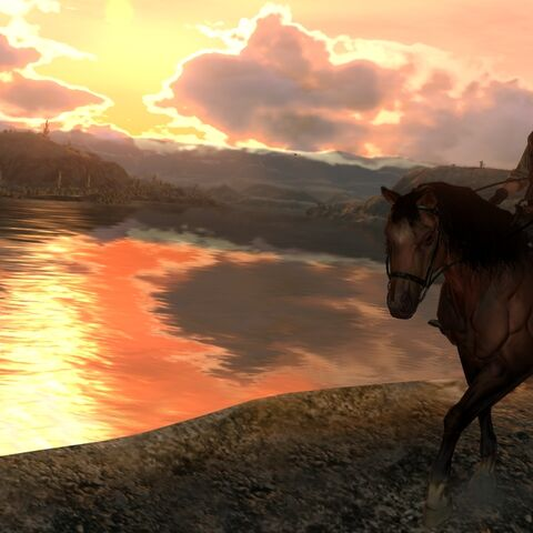 John andando a caballo por el río.