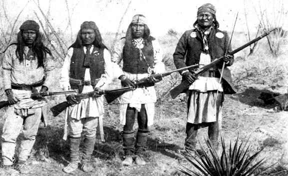 File:Apache chieff Geronimo (right) and his warriors in 1886.jpg