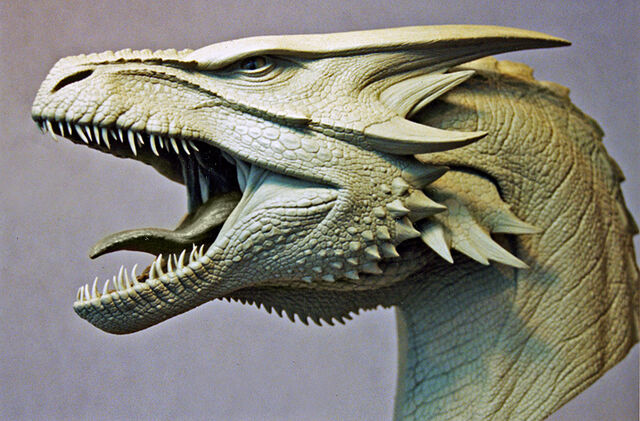 File:Maquette of the Female Dragon's head, sculpted by Miles Teves..jpg