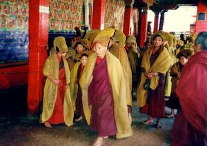 Monks hurrying to services, Tashilhunpo