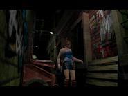 Resident Evil 3 Nemesis screenshot - Uptown - Street along apartment building - Jill Valentine scene 10