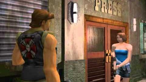 Resident Evil 3 Nemesis cutscenes - Exiting with Carlos (Press office main entrance)
