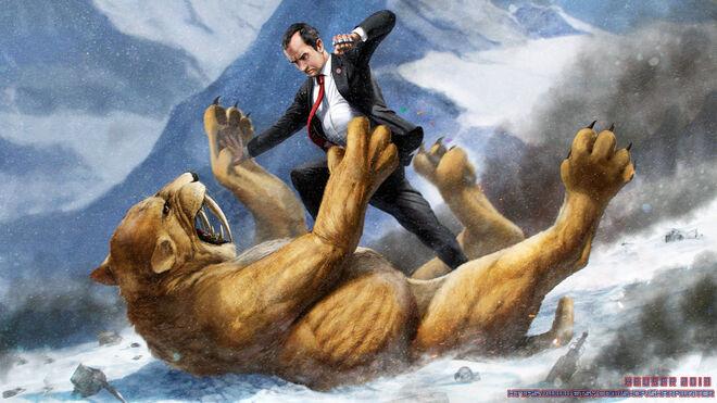 Richard nixon fighting a saber tooth tiger by sharpwriter-d6bln06