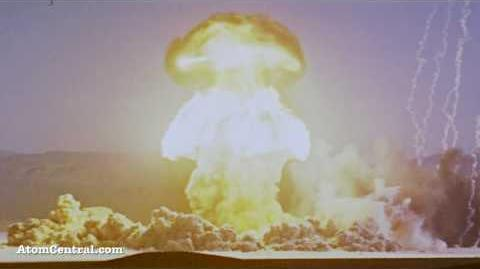 Huge Mushroom Cloud caused by a bomb explosion