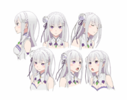 Emilia Character Art Face Angles